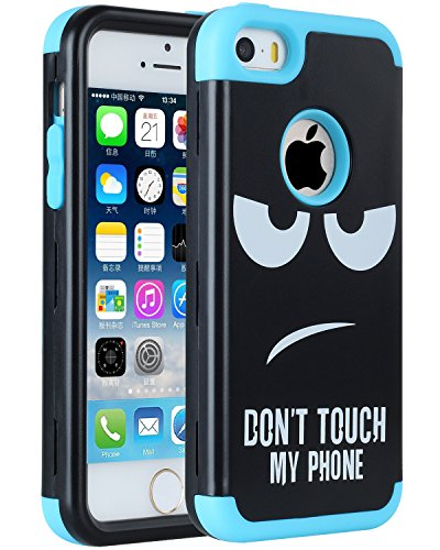 iPhone SE Case, SAVYOU Slim Hybrid iPhone 5S Case Armor Heavy Duty Dual Layer Protection Shockproof PC TPU Skin Cover for Apple iPhone SE 5 5S - Don't Touch My Phone Blue (Encase 5 Iphone)