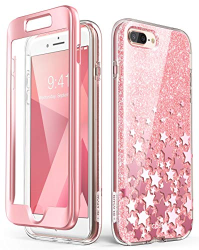 i-Blason Cosmo Glitter Clear Bumper Case for iPhone 8 Plus/iPhone 7 Plus, Pink (Heavy Multi Glitter)
