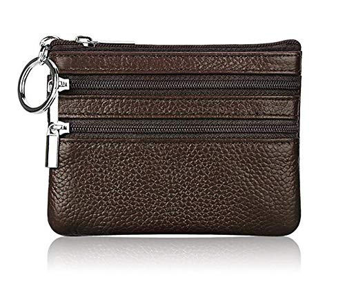 (ETIAL Genuine Leather Coin Purses for Women Men Mini Zipper Wallet Coin Pouch Key Ring Coffee)