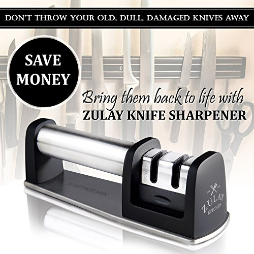 Best Manual Stainless Steel Knife Sharpener for Straight and Serrated Knives, Ceramic and Tungsten - Easy Sharpening for Dull Steel, Paring, Chefs and Pocket Knives, Sharpens Scissors by Zulay Kitchen by Zulay Kitchen (Image #3)