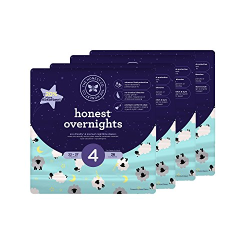 Honest Overnight Baby Diapers, Sleepy Sheep, Size 4, 104 Count by The Honest Company