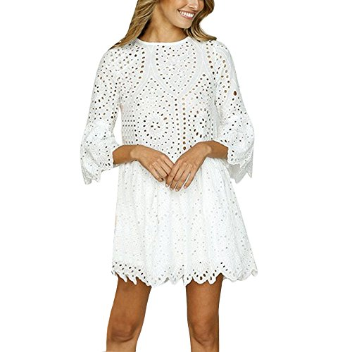 Rambling Women's Casual Loose Short Sleeve Round Neck Lace Shift Loose Mini Vintage Dress White