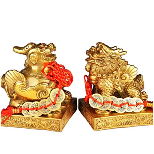 - xiulin Feng Shui Bronze pixiu A Pair of Male and Female Couple Five Emperors Money 2 Set Fortune Business Interior Decoration Home Furnishing