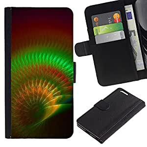 UberTech / Apple Iphone 6 PLUS 5.5 / Shell Green Psychedelic Maroon / Cuero PU Delgado caso Billetera cubierta Shell Armor Funda Case Cover Wallet Credit Card