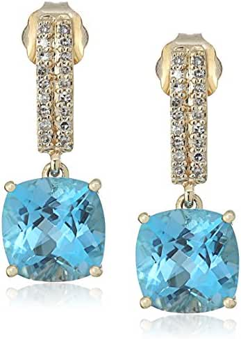 10k Yellow Gold Cushion Cut Swiss Blue Topaz with Diamond Accent Drop Earrings