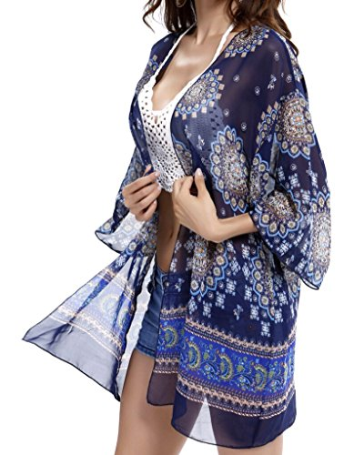 Swim,Beach Cover Up,Women Boho Chiffon Kimono Cover-ups,Cardigan for Bikini.(Free, Blue)