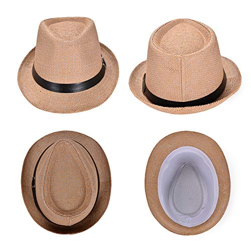 6f1f8f893 Fedora Hats for Men, Straw Packable Cuban Panama Style Trilby Sun Beach Hats  with Short