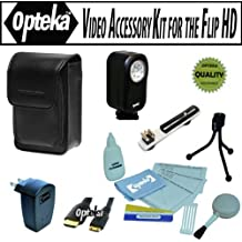 Opteka Professional Video Accessory kit for the Flip Ultra U1120, UltraHD U260, U2120, U32120, MinoHD F460, M2120, M3160, M31120, SlideHD S1240 includes Opteka VL-20 Ultra Bright LED Video light, Flash bracket, Vanguard logos 6B Leather case, Mini-HDMI cable, USB AC Charger and more