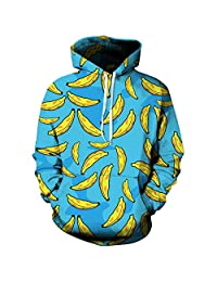 YUTRENDS Unisex Couples 3D Graphics Printing Hooded Sweatshirt with Pockets