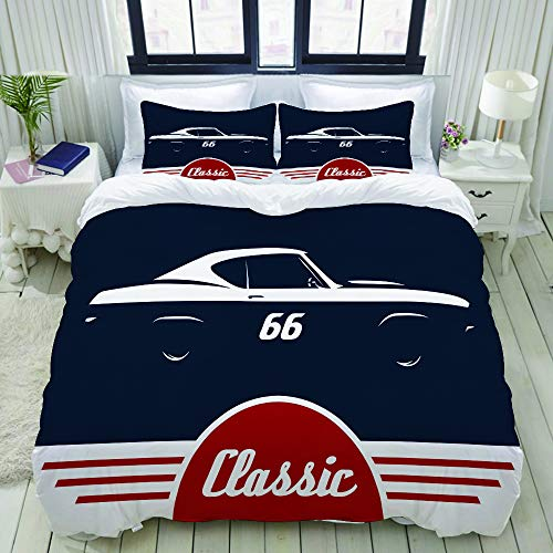 LUBATAGA Duvet Cover Set,Classic Sports Muscle car Concept Vehicle Silhouette Design, Decorative 3 Piece Bedding Set with 2 Pillow Shams,King (Furniture Concepts California Classic)