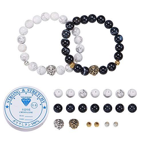 SUNNYCLUE DIY Lion Head Natural Gemstone Beaded Stretch Bracelet Making Kit Distance Relationship Bracelets Black Agate & White Howlite Beads His and Hers Couple Bracelet - Make 2 Bracelet]()