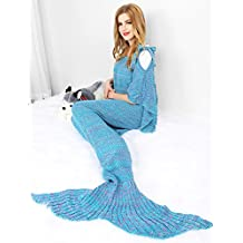 "Mermaid Tail Blanket,Merssyria Mermaid Tail Blanket,Air Conditioning Blanket,All Seasons Knitted Blanket,Sleeping Bag for Sofa,Bed or Camping Out.Warm and Soft Handmade Blanket for Children and Adults,With Vacuum Packaging and Waterproof Bag.(71""x35.5"",Suspenders-Lake blue)"