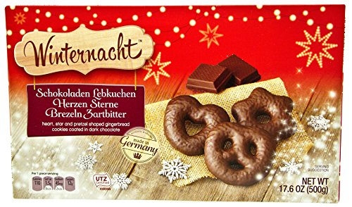 Winternacht Chocolate Covered Gingerbread Assortment (Schokoladen Lebkuchen Herzen Sterne Brezeln Zartbitter), 17.6 Ounces (500 grams) (Dark Chocolate)