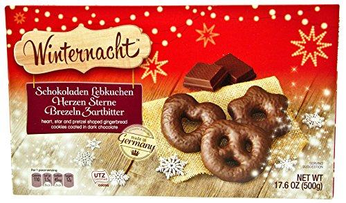 Winternacht Chocolate Covered Gingerbread Assortment (Schokoladen Lebkuchen Herzen Sterne Brezeln Zartbitter), 17.6 Ounces (500 grams) (Dark Chocolate)