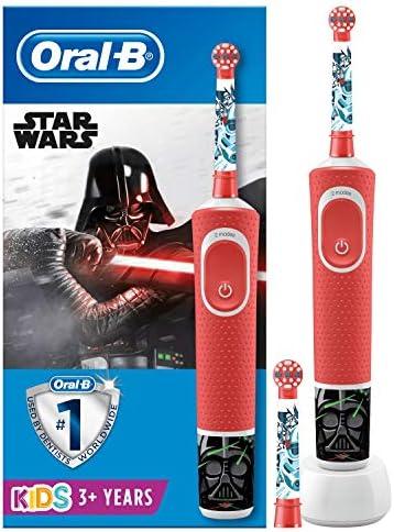 Oral-B Kids Star Wars Elektrische Zahnbürste mit Disney-Stickern, 2 Aufsteckbürsten, für Kinder ab 3 Jahren, rot