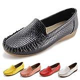 Jabasic Women's Slip-on Loafers Flat Casual Driving Shoes (10 B(M) US, Black)