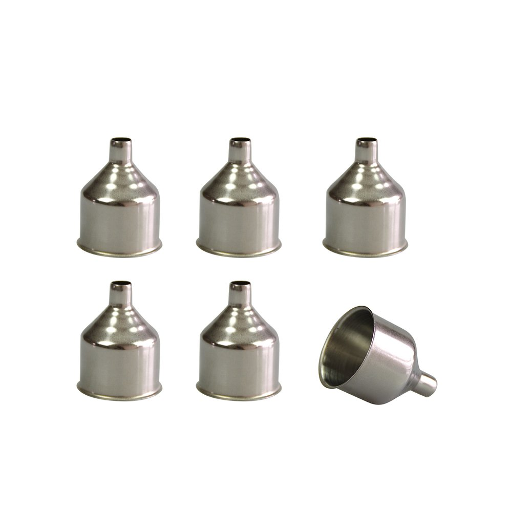 Mirenlife 6 Pcs Small Stainless Steel Funnel for Flasks
