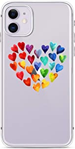 FancyCase Compatible with iPhone 11-New Rainbow Hearts Pattern Soft Silicone Protective Clear iPhone 11 Case (Rainbow Heart)