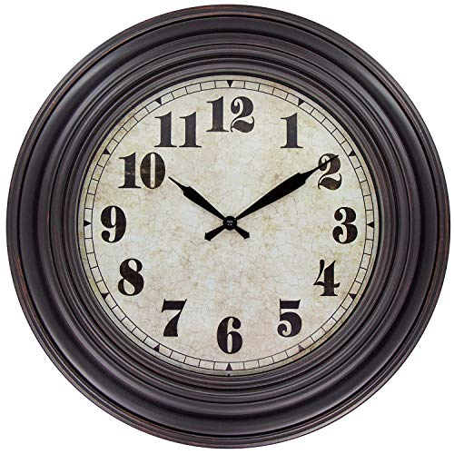 - 45Min 20 Inches Retro Round Large Wall Clocks, Silent Non Ticking Battery Operated Movement Easy to Read Wall Clock with Arabic Numerals