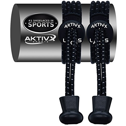 AKTIVX SPORTS LACES – No Tie Shoelaces that Lock – Replacement Elastic Shoelaces, Athletic Laces for Running Gear Accessories, Mens Womens or Kids Shoes, Fitness Exercise Equipment (Black)