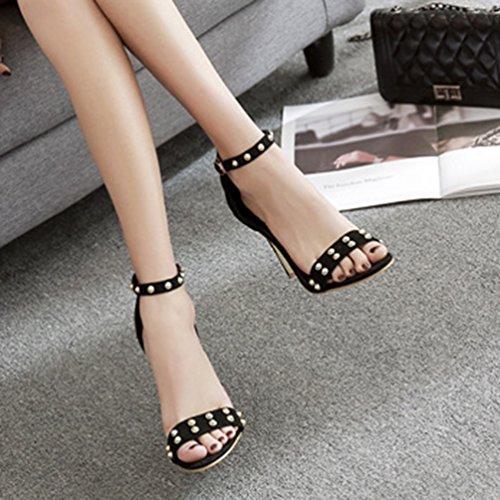 ... Inconnu Chaussures Talons Hauts Aiguille Escarpins Lanière Bride  Cheville Clouté Sandales Ouvert Femmes Noir k9iqL6qT 1bcb3ce774d