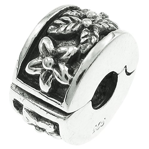 925 Sterling Silver Floral Flower Interchangeable Clip Stopper Bead For European Charm Bracelets