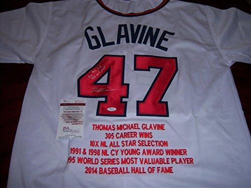 (Tom Glavine Autographed Jersey - 91 98 Cy Young 95 Ws Mvp coa - JSA Certified - Autographed MLB Jerseys)