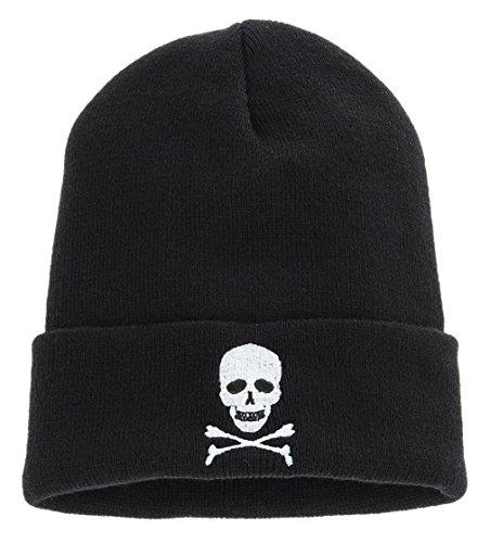 La Vogue Men Women Skull Crossbones Knit Cap Crochet Beanie Skull Hat (Skull And Crossbones Knit)