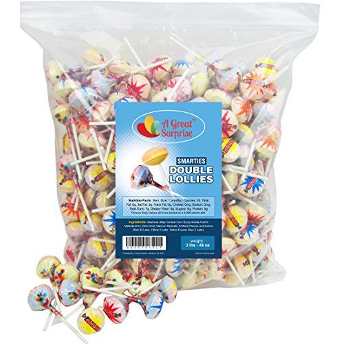 Double Lollipops - Smarties Lollipops - Smarties Double Lollies, Bulk Individually Wrapped 3LB Party Bag Family Size