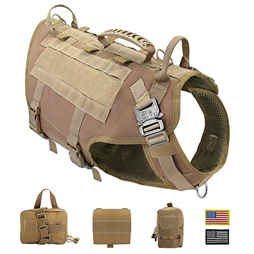 PET ARTIST Tactical Dog Harness for Hiking Training, No Pull Vest Harness for Medium Large Dogs, with Pouches and Patches (Best Training For Hiking)
