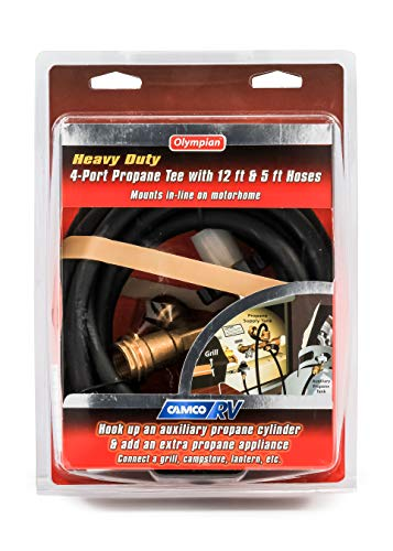 Camco-Propane-Brass-4-Port-Tee-Comes-with-5ft-and-12ft-Hoses-Allows-for-Connection-Between-Auxiliary-Propane-Cylinder-and-Propane-Appliances-59123