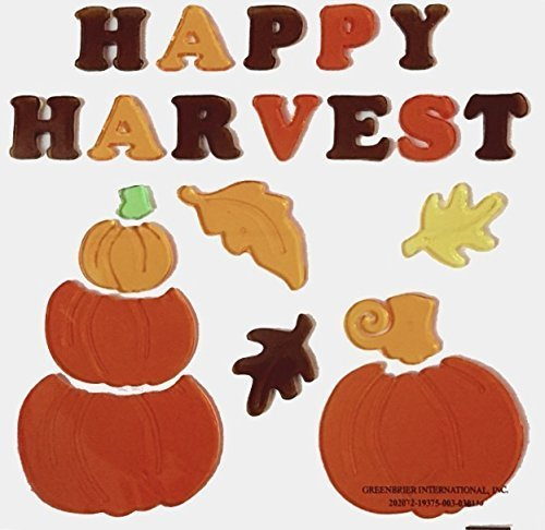 Set of 4 Autumn Fall Thanksgiving Harvest Pumpkin Leaves Gel Window Cling Decorations ~ Very Cute (Cute Homemade Ladybug Costumes)