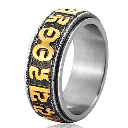 Steel Design Ring Tribal Spinner (Men's Vintage Gothic Stainless Steel Band Rings Tibetan Buddhism Spinner Punk Biker Rings Gold Black Size 11)
