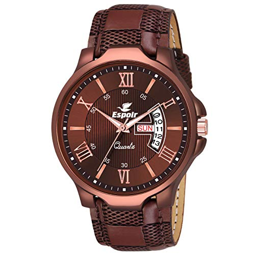 Espoir Analogue Leather Strap Day and Date Men's Boy's Watch – ES2348