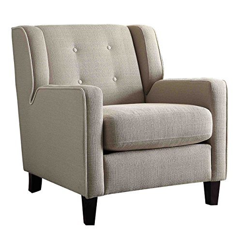 Homelegance Accent - Homelegance Roweena Accent Chair with Reversible Seat Cushion, Beige Fabric
