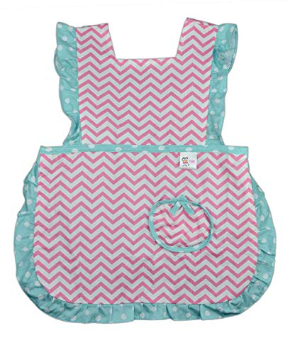 Kids Toddler Kitchen Cotton Apron with Pocket,Wave Pattern Child Apron Cooking Baking Painting(Girl Pink, 3-5 Years Old