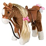 HollyHOME Stuffed Animal Horse Pretty Plush Toy Pretend Play Horse 11 inches Brown