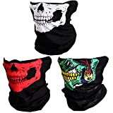 CIKIShield Couples Seamless Skull Face Tube Mask Black (3pcs-Color Set-D)