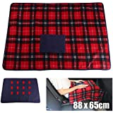 Amaping Portable 5V Electric USB Soft Heated Shawl Blanket Wrap Winter Electric Warming Neck Knee Shoulder Heating Blanket for Car Office Use (Red Grids, 34.6'' x 25.5'')