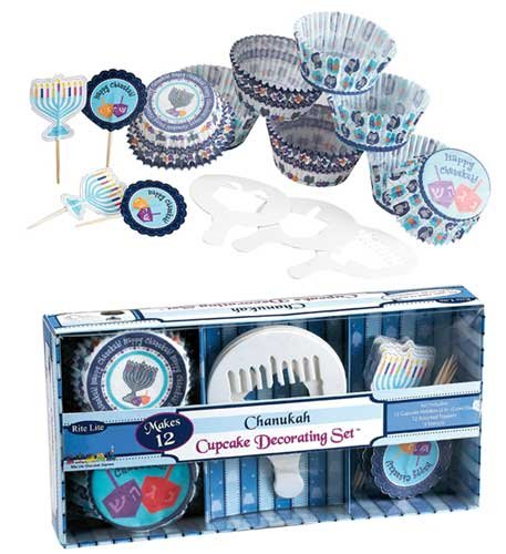 Rite -Lite Judaica Chanukah Cupcake Set with Stencils, Holders and Toppers -
