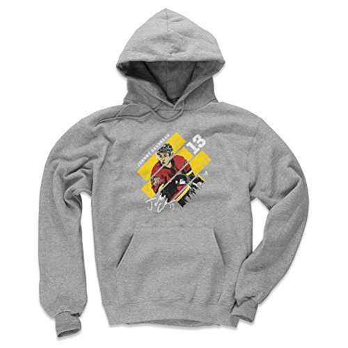 500 LEVEL Johnny Gaudreau Calgary Flames Hoodie Sweatshirt (Large, Gray) - Johnny Gaudreau Stripes Y -