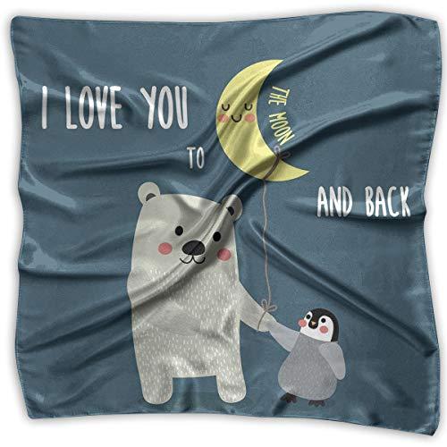 Bandana Head and Neck Tie Neckerchief,Teddy Bear And Penguin Friends Arctic Valentines Under Moon -
