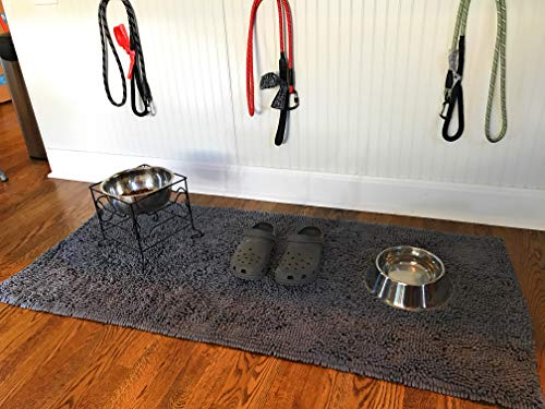 Enthusiast Gear Dog Mud Mat | Ultra Absorbent Microfiber Chenille Non-Slip Doormat, Dog Bowl Floor Mat, Crate Rug – No…