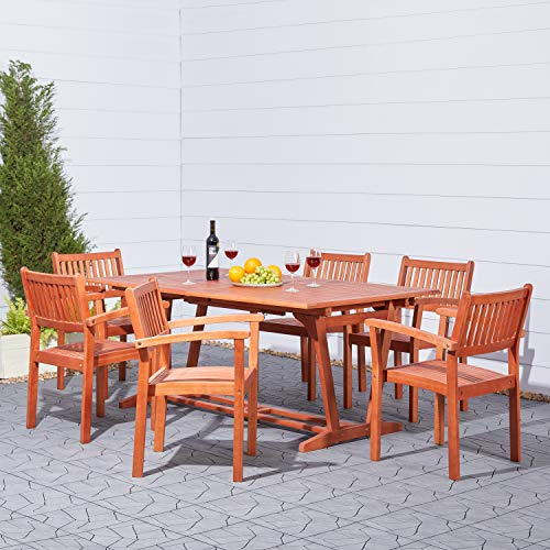 - Malibu V232SET5 Eco-Friendly 7 Piece Wood Outdoor Dining Set with Rectangular Extension Table and Stacking Chairs