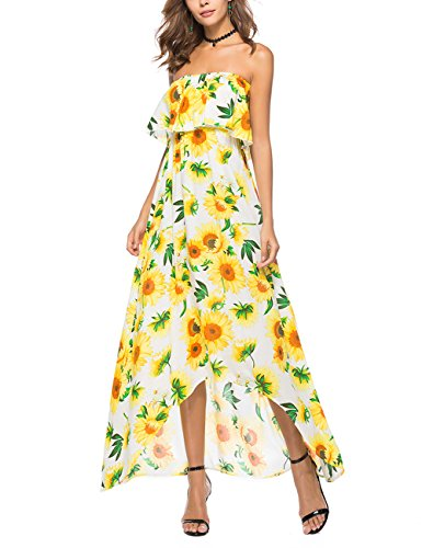 Sexy Hem Off Bohemia Loose Long Women Yiwa Dress Yellow Irregular Dress Style Shoulder xEwgYvZCq