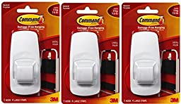 Command Jumbo Plastic Hook with Adhesive Strips, 3-Hooks