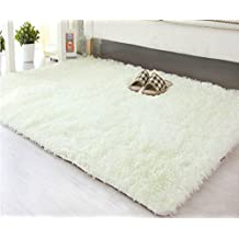 Fayday® (Sizes Can Be Customized) Silk Woollen Area Rugs Noble Cappet Blanket For Living Room/Bed Room Skid-proof Functional Floor Mat Creamy White 40*60cm