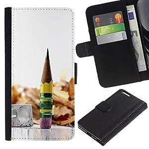 KingStore / Leather Etui en cuir / Apple Iphone 6 PLUS 5.5 / madera grafito metálico lápiz