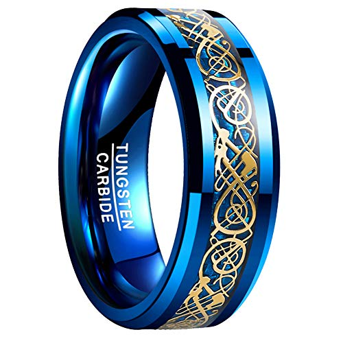 VAKKI 8mm Dragon Pattern Polished Edge Blue Carbon Fiber Tungsten Wedding Band for Women Size 11