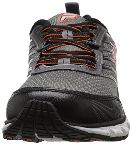 Fila de hombre adelante Running Shoe Dark Silver / Black / Red Orange